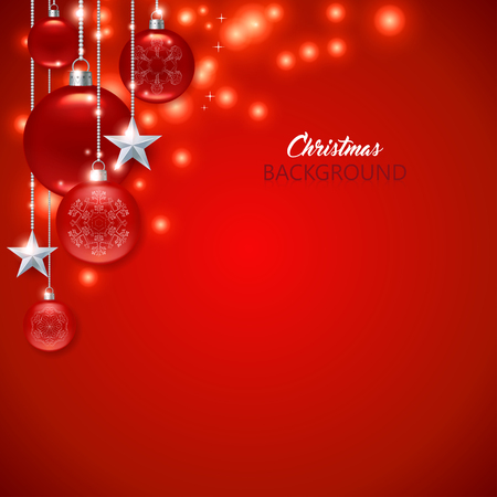 Elegant red Christmas background with frosted and glossy Christmas balls, stars and sparks. Standard-Bild - 125489504
