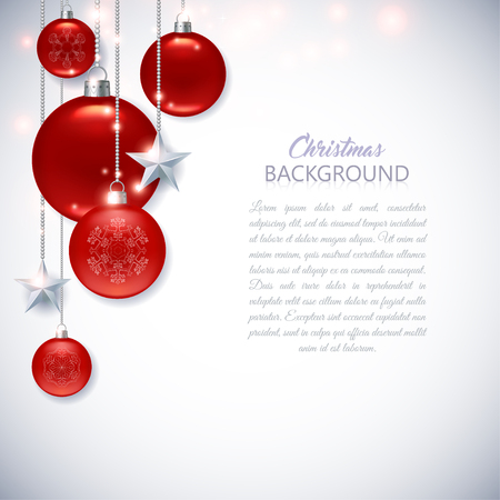Elegant white Christmas background with frosted and glossy red Christmas balls, stars and sparks. Vektoros illusztráció
