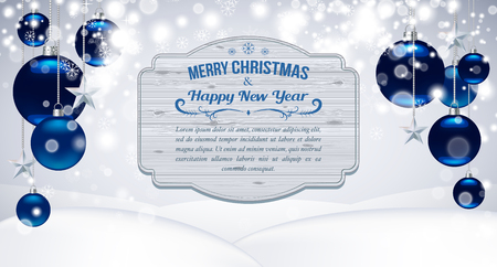 Template for Christmas Cards, Flyer, poster, dinner invitation, banner. Promotion or shopping template. Poster with Christmas balls, stars and wooden plate for text. Vector background Standard-Bild - 125489508