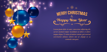 Beautiful template for Christmas or New Year Card, Flyer, poster, invitation, banner. Promotion or shopping template. Illustration with balls, stars and place for text. Violet Vector background Standard-Bild - 125861573
