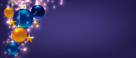 Magic template for Christmas or New Year Card, Flyer, poster, invitation, banner. Promotion or shopping template. Illustration with balls, stars and place for text. Violet Vector background Standard-Bild - 125861574