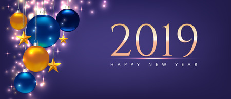 Magic template with greeting – Happy New Year 2019. Template for Card, Flyer, poster, invitation, banner. Promotion or shopping template. Illustration with balls, stars. Violet Vector background Standard-Bild - 125861575