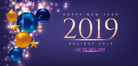 Promotion or shopping template. With greeting – Happy New Year 2019. Holiday sale. Template for Card, Flyer, poster, banner. Illustration with balls, stars. Violet Vector background Standard-Bild - 125861576