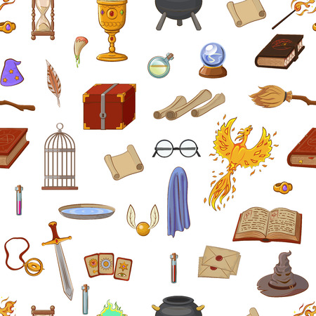 Magic pattern with: wizard, hat, magic book, roll, potion, broom, crystal ball, glasses, snitch. Different witch equipment in cartoon style. Vector illustration. Illustration