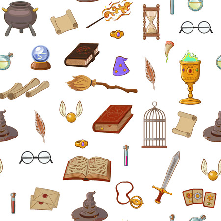Magic pattern with: wizard, hat, magic book, roll, potion, broom, crystal ball, glasses, snitch. Different witch equipment in cartoon style. Vector illustration. Illusztráció