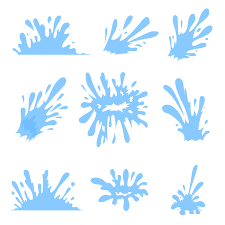 Blue Water spray, Splash and Drops set. Cartoon style. Vector illustration.