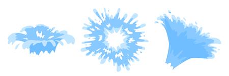 Cartoon Blue Water spray set. Cartoon style. Vector illustration.