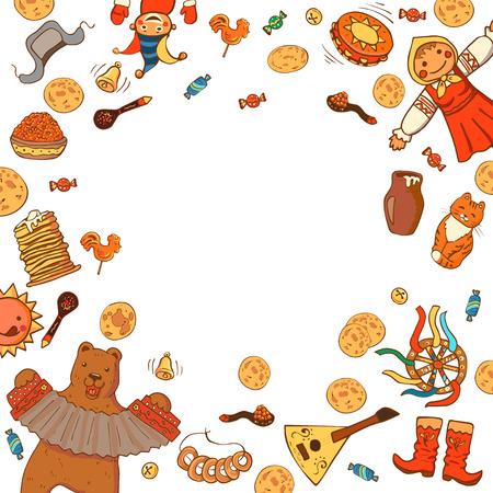 Template for design invitation, banner, poster or promo. Maslenitsa or Shrovetide week. Pancake week elements: pancakes, bear, balalaika; drum; sun; scarecrow of winter, sour cream, balalaika, cat.
