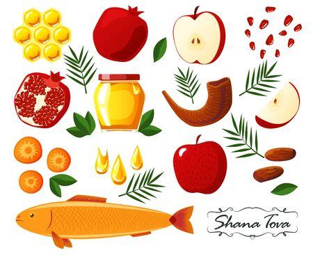 Shana Tova. Big collection of Jewish new year icons: honey, apple, pomegranate, fish, shofar, carrot, palm, honeycomb. Happy New Year in Israeli. White background. Flat style Ilustracja