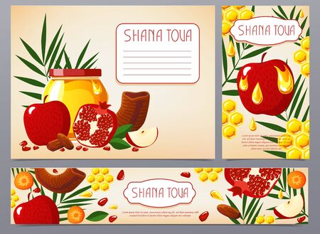 Shana Tova. Collection of Jewish new year banner with honey, apple, pomegranate, shofar, carrot, palm, honeycomb. Happy New Year in Israeli. Flat style. White background.