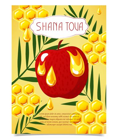 Shana Tova template of banner. New year banner with honey, apple, palm. Vector template, flat style.