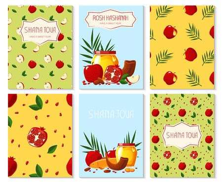 Shana Tova. Set of new year banners with honey, shofar, apple, pomegranate, fish, carrot, palm. Happy New Year in Israeli.