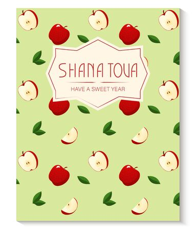 Rosh Hashanah greeting card with apple pattern. Jewish New Year. Shana Tova, new year in Hebrew. Vector illustration template.