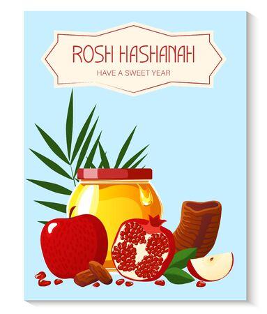 Rosh Hashana. Greeting card. Shana Tova. New year banner with honey, pomegranate, shofar, apple, palm. Happy New Year in Israeli.