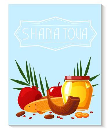 Shana Tova template of banner. New year banner with honey, shofar, apple, pomegranate, fish, carrot, palm.