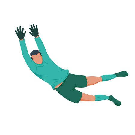 Football player goalkeeper in green form. Vector illustration. Çizim