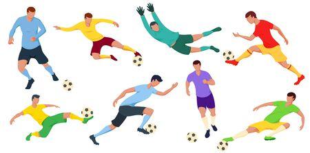 Detaillierte Fußballspieler: Torwart, Stürmer. Vektor-Illustration. Vektorgrafik