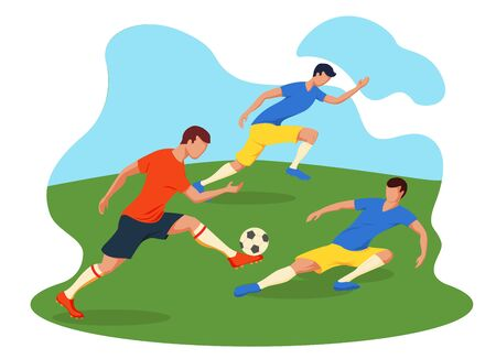 Soccer Players Kicking Ball. Football players play to football. Green grass and blue sky.
