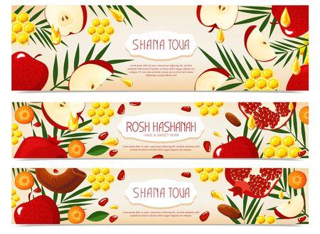 Shana Tova. Set of new year banners with honey, shofar, apple, pomegranate, carrot, palm. Happy New Year in Israeli.