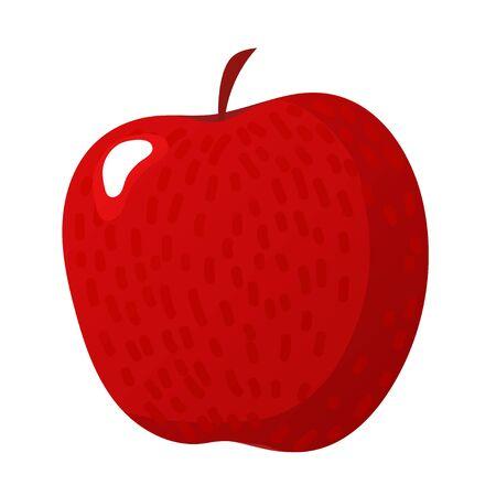 Red apple vector illustration. Flat style. Cartoon
