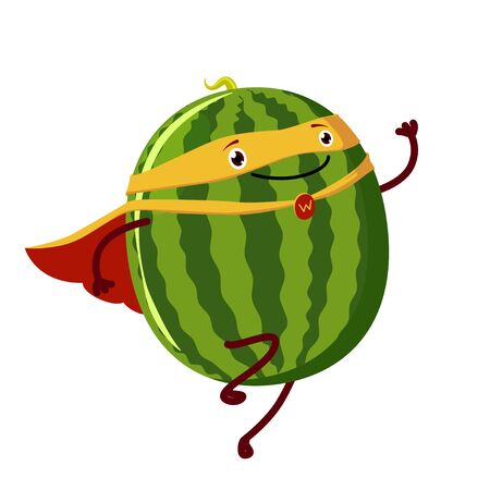 Watermelon super hero. Fruit poster with vector watermelon character.
