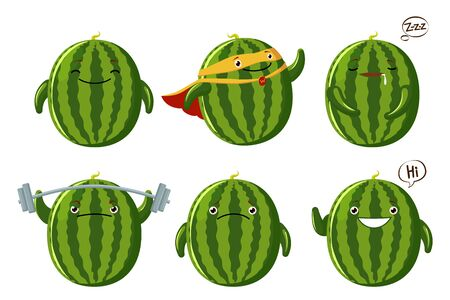Set cute Watermelon characters. Kawaii fruit vector characters isolated on white background