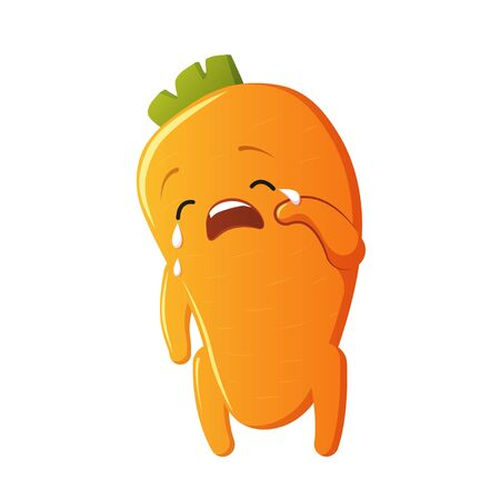 Carrot character. Kawaii crying carrot. Vector isolated on white background Banque d'images - 131490906