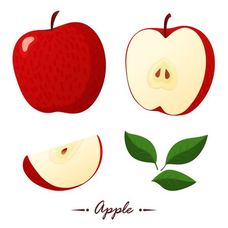Red apple vector illustration. Flat style. Cartoon Banco de Imagens - 132015903