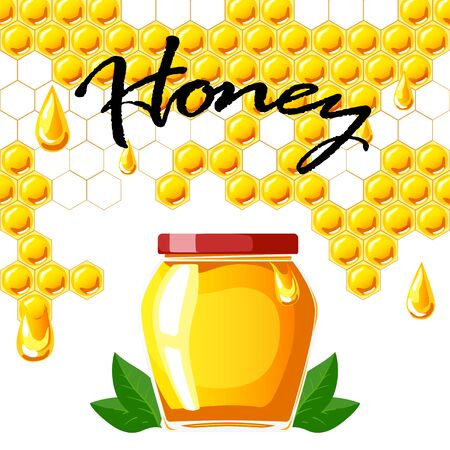 Honeycomb background and jar of honey. Banner concept Ilustracja