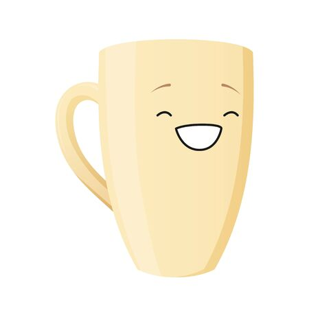 Cup character. Kawaii corn girl smiling. Vector isolated on white background for animation. Happy smiling cup