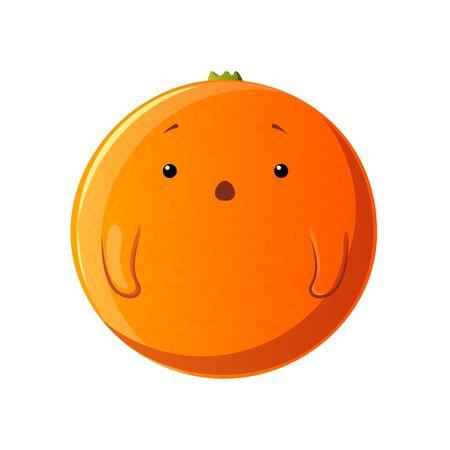 Cute orange character. Kawaii fruit vector characters isolated on white background Illusztráció