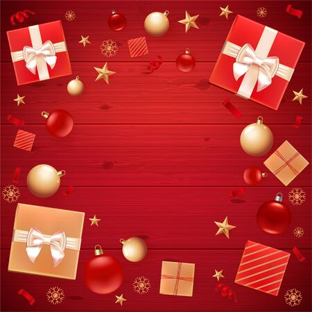 Christmas background for greeting Card, Flyer, poster, invitation, banner for Promotion Poster. Illustration with Christmas balls, stars, gift boxes and place for text. Red wooden square background Stok Fotoğraf