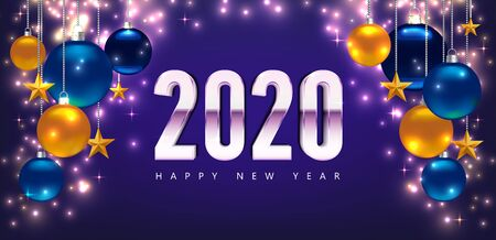 New Year 2020 greeting cards. Magic template Happy New Year. Template for Card, Flyer, poster, invitation, banner. Promotion template. Illustration with balls, gold stars. Violet Vector background