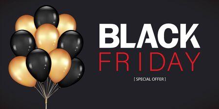 Venerdì nero vendita Poster con Dark e oro mazzo di palloncini isolati su sfondo nero. Illustrazione realistica di vettore.