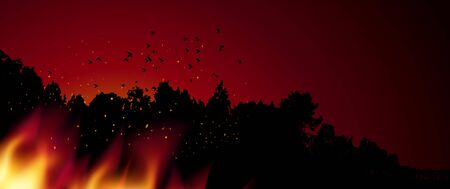 Burning forest trees in fire flames. Silhouette of forest and birds, tongue of flame. Concept for poster or banner, vector illustration. Çizim