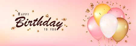 Celebrate birthday template. Pink Background with realistic balloons with gold confetti. Design with balloon, color pink, gold and white, gold serpentine, stars. Happy birthday to you.