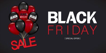 Black Friday Sale Poster with Dark and red Balloons Bunch Isolated on black Background. Realistic Vector illustration. Çizim