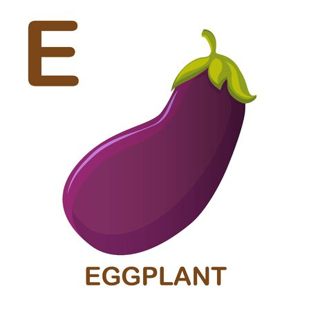 Eggplant vector icon. Icon with letter E. Illustration for alphabet on white background. Cartoon style.