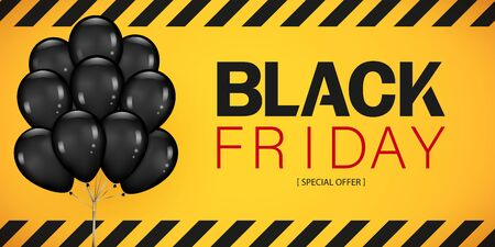 Colorful Black Friday Sale Poster with Dark Shiny Balloons Bunch Isolated on yellow Background. Realistic Vector illustration. Çizim