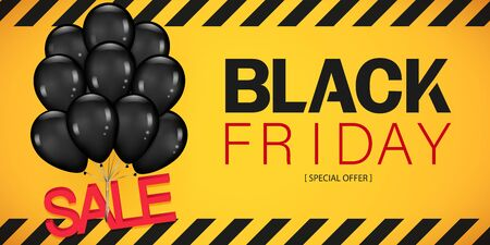 Colorful Black Friday Sale Poster with Dark Shiny Balloons Bunch Isolated on yellow Background. Realistic Vector illustration.  イラスト・ベクター素材