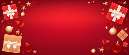 Christmas background greeting card. Template for Flyer, poster, dinner invitation, banner for promo. Illustration with Christmas balls, stars, gift boxes and place for text. Red background