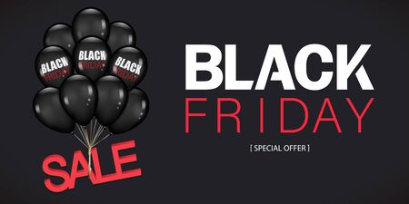 Black Friday Sale Poster with Dark Shiny Balloons Bunch Isolated on black Background. Vector illustration.