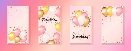 Social media story template. 3d balloons on gentle Pink Background. Celebration design with balloons.