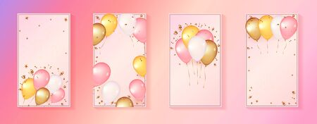3d balloons on pink Background. Social media story template with Celebration design. Template for giveaway, birthday, anniversary, Baby shower. Explosion of gold confetti, streamers and stars. Çizim