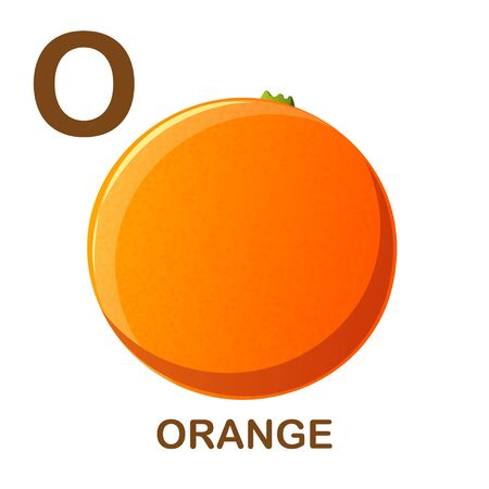 Orange icon with letter O. Cartoon style object. Vector Illustration.