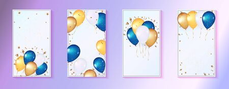 3d balloons on gentle Blue Background. Celebration design with bunch of balloons. Template for celebrate birthday, sale, anniversary, Baby shower. Explosion of gold confetti, streamers and stars.