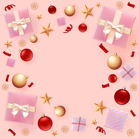 Christmas background for greeting Card, Flyer, poster, dinner invitation, banner for Promotion Poster. Illustration with Christmas balls, stars, gift boxes and place for text. Pink square background. Çizim