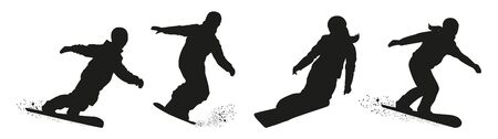 Set of vector snowboarders boys and girls. Winter sport. Black silhouette