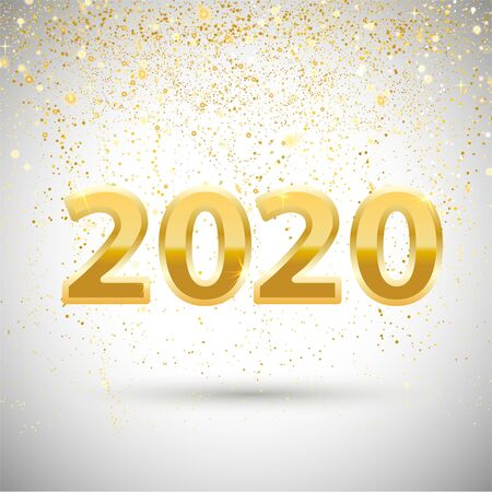 Metallic Gold Number 2020. Gold Number. New Year background or banner with snowflake .
