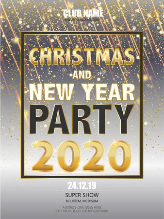 Christmas and New Year party 2020 Eve celebration Flyer, Banner or Pamphlet. New Year party or dinner invitation, poster, greeting card, design template.
